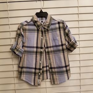 Janie and Jack Boy's Blue Check Plaid Button Up 2